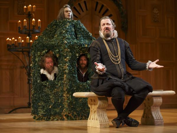 In his first-ever Broadway performance, Stephen Fry (right) plays the mistreated steward Malvolio in <em>Twelfth Night</em>.