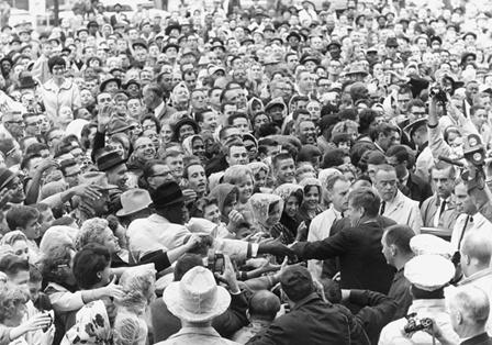 Kennedy greeted crowds at a Fort Worth hotel.