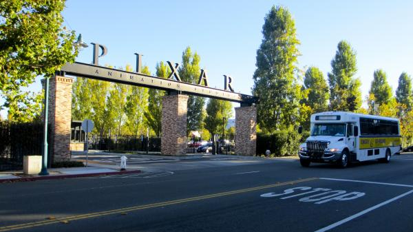 Pixar Animation Studios is one of the commercial property owners that funds the Emery Go Round. Many of Pixar's employees get off a Bay Area Rapid Transit stop in nearby Oakland and take the Emery Go Round to the Pixar complex in Emeryville.