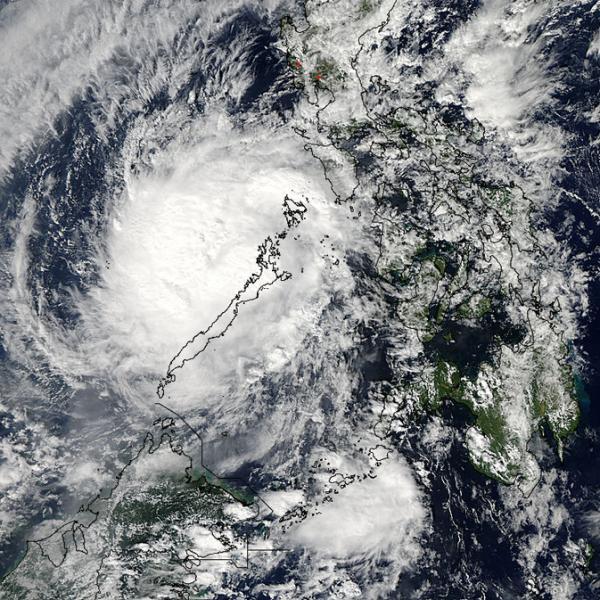Typhoon Bhopa scene over the Philippine island of Palawan last December.