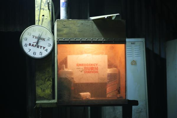 A safety station at the foundry is covered in a layer of dust from the furnace. Safety is a top priority since a small drop of metal can cause serious burns.