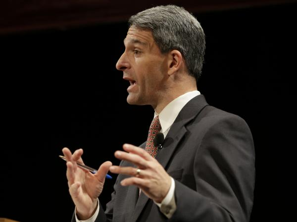Virginia Republican gubernatorial candidate Ken Cuccinelli gestures during an Oct. 24 debate in Blacksburg, Va.
