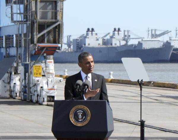 President Barack Obama delivered a speech on the economy and the Affordable Care Act during his appearance at the Port of New Orleans on Friday.