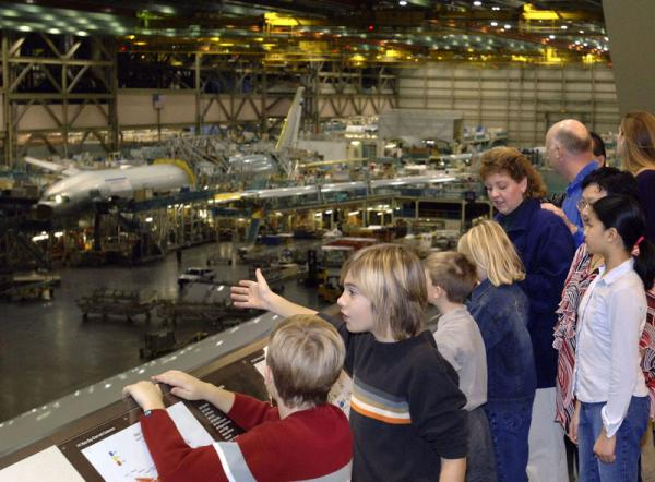 File photo of Boeing 777 assembly line as seen from tour observation deck/