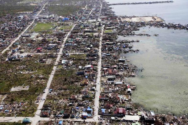 An aerial image taken from a Philippine Air Force helicopter shows the devastation caused by Typhoon Haiyan in Guiuan.