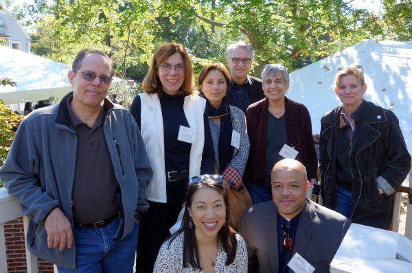NPR journalists who have participated in the Nieman Foundation Fellowship program gathered in September to celebrate the Fellowship's 75th Anniversary. (l to r) Howard Berkes, Marilyn Geewax, Sylvia Poggioli, David Welna, Margot Adler, Dina Temple-Raston, (bottom) Elise Hu and Jonathan Blakley.