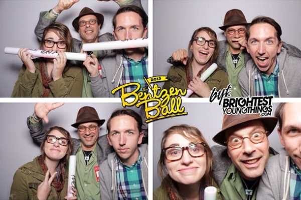 NPR Music Intern<strong><strong><strong> </strong></strong></strong>Alex Schelldorf (r) mugging with his supervisor, <em>All Songs Considered</em> Host Bob Boilen (center, with hat), at the 2013 Bentzen Ball, a comedy festival in Washington, D.C. (posted by @alexschelldorf)
