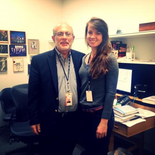 <em>All Things Considered</em> Host Robert Siegel with <em>All Things Considered </em>Intern Annabelle Ford. (posted by @annabellejford)