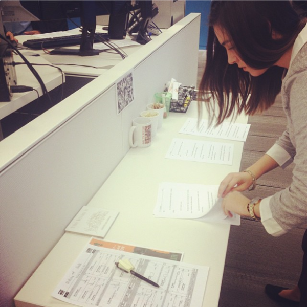 During the <em>All Things Considered</em> broadcast, NPR Intern Karen Zamora (@karenanelzamora) prints the upcoming scripts, lines them up in order and brings them into the studio. Except this time, she didn't have a second to lose! (posted by @nprintern)