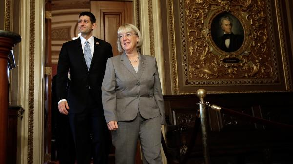"Rep. Paul Ryan, R-Wis., and Sen. Patty Murray, D-Wash., prepare to meet reporters on Capitol Hill on Oct. 17, after a breakfast meeting when the leaders of the bipartisan budget conference say they pledged to seek ""common ground."""