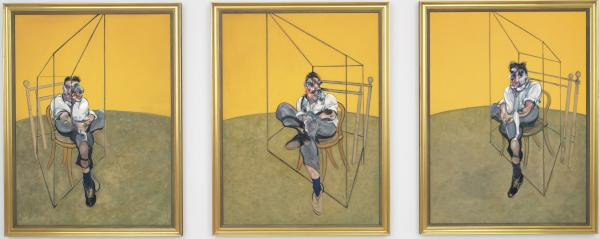 Francis Bacon's 1969 triptych <em>Three Studies of Lucian Freud.</em>