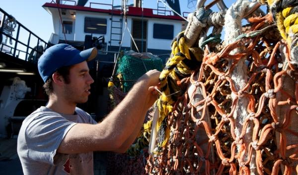 A commercial fisherman in Newport mends a net.