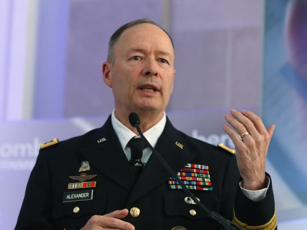 U.S. Army Gen. Keith Alexander, director of the National Security Agency and commander of U.S. Cyber Command, speaks during a conference at the Ronald Reagan Building, in October.