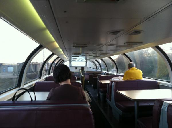 The inside of the upper level of The Great Dome Car