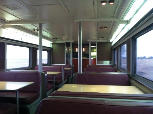 The downstairs bar area on the Great Dome Car
