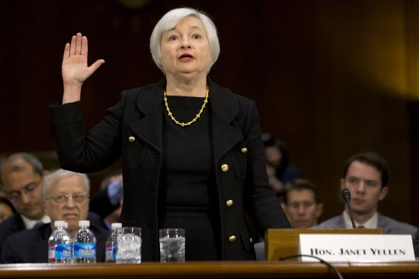 Janet Yellen, President Obama's nominee to become the next chairman of the Federal Reserve Board, is sworn in Thursday on Capitol Hill for her confirmation hearing.