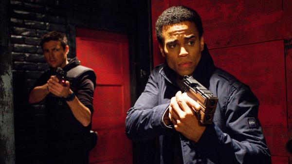 In this Fox show <em>Almost Human, </em>Karl Urban (left) plays a human cop partnered with an android, played by Michael Ealy.