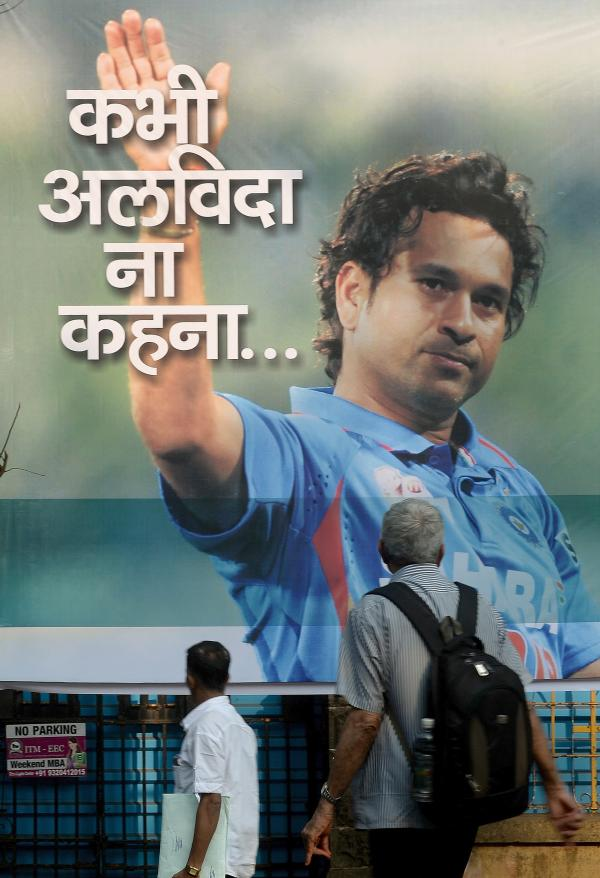 A poster in Mumbai this week of Sachin Tendulkar, India's cricket superstar.
