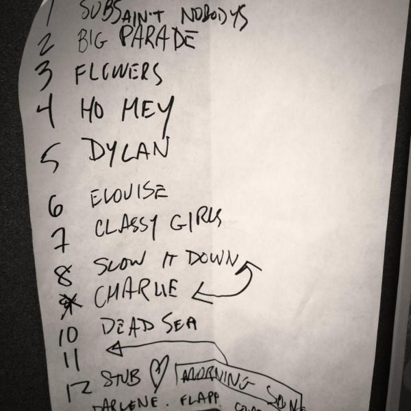 "<p>The Lumineers at the Magic Bag (Ferndale, MI), Jun. 9, 2012.</p><p><em>""Before they were headlining festivals, [The Lumineers'] Neyla Pekarek gave me this handwritten setlist."" </em>- @taylorhornecker</p>"