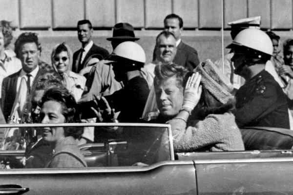 This image was made approximately one minute before Kennedy was shot. In the car riding with the president are Connally (left, partially hidden), his wife, Nellie, and the first lady.