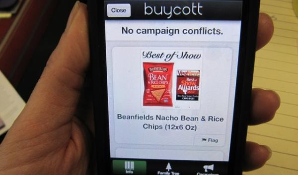 The Buycott app tells you whether the company that made a product is associated with the opposition to labeling genetically modified foods.
