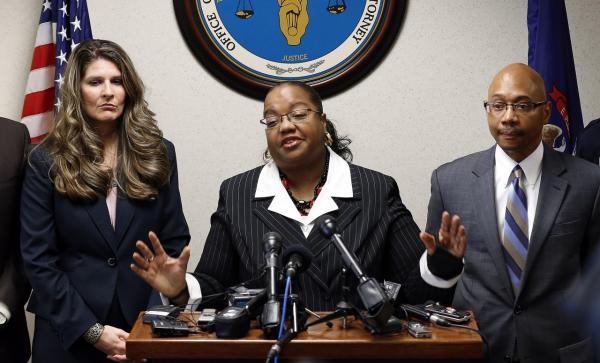 Wayne County Prosecutor Kym Worthy announces second-degree murder charges against Theodore P. Wafer, 54, of Dearborn Heights, during a news conference in Detroit Friday, Nov. 15, 2013. (Paul Sancya/AP)