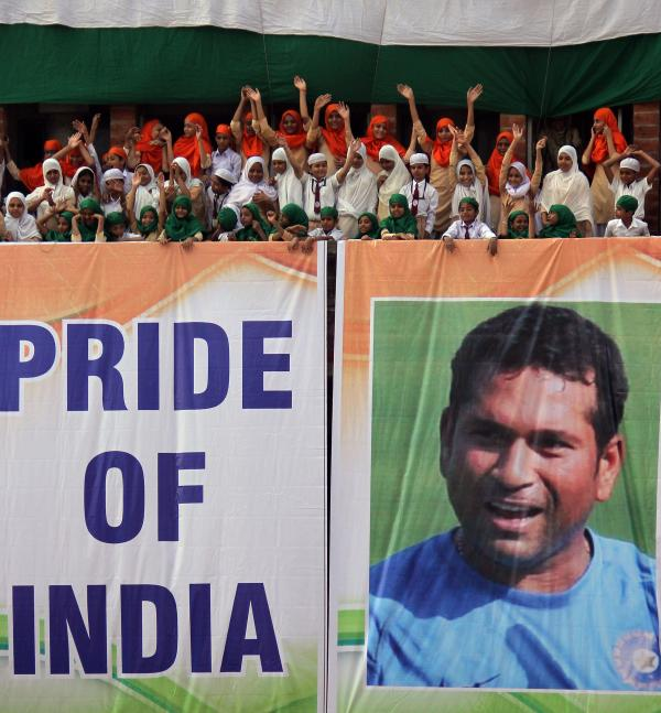 Students in Ahmadabad, India, honored cricket superstar Sachin Tendulkar in their own way earlier this week.