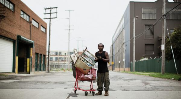 Shorty Rock on the streets of Central, the neighborhood that is the epicenter of Cleveland's scrap trade. (Peter Larson)