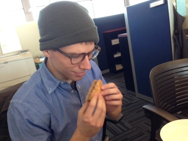 Intern Steven wonders if this sandwich will cause Intern-al Bleeding.