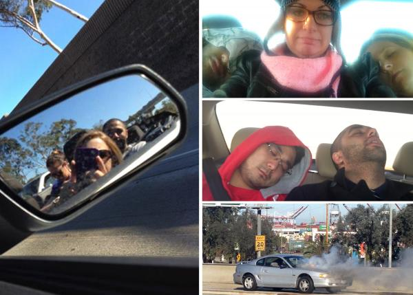 Neville Amaria's commute to work used to take up to 1.5 hours each way. He carpooled with colleagues including Stefanie McNally, Cristina Cooper and Bryan Kim. The gang passed the time by sleeping and snapping photos of unlucky commuters.