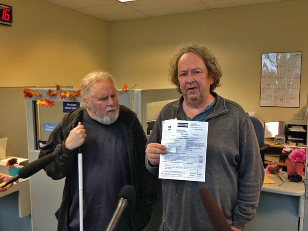 "Jeff Gilmore, right, with partner Dave Brown have applied for a license to grow legal marijuana. Gilmore says he was busted two decades ago for growing pot and believes it's ""about time"" he can do so legally."