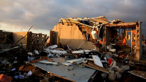 One of the homes destroyed in Washington, Ill., by Sunday's storms.