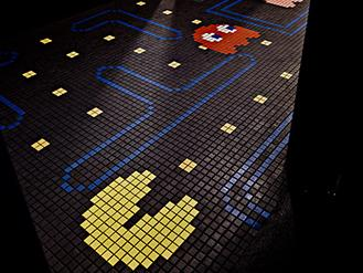 The tile floor in the restroom of the Ground Kontrol Classic Arcade.