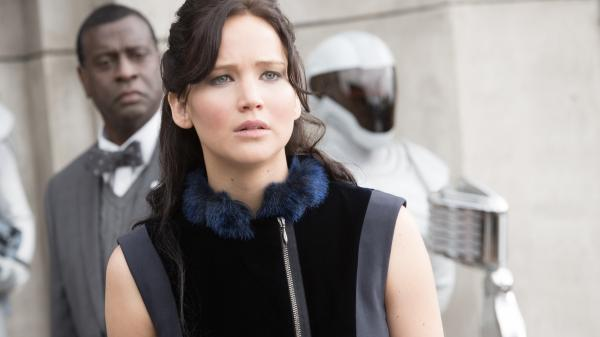 Jennifer Lawrence makes her second appearance as the savvy, steel-spined Katniss Everdeen in the dystopian <em>Hunger Games</em> series.