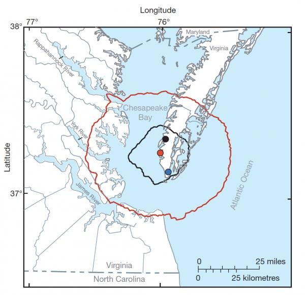 A map showing the impact areas of a large asteroid or comet that struck the Chesapeake Bay some 35 million years ago.