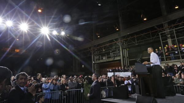 President Obama speaks at ArcelorMittal, a steel mill in Cleveland, on Thursday. Obama visited the steel mill to discuss the economy and manufacturing, and then flew to Philadelphia for a Democratic fundraising dinner.