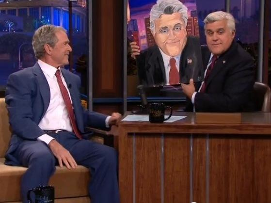 Former President George W. Bush gave <em>Tonight Show</em> host Jay Leno a painting Tuesday night. Since leaving the White House, Bush has taken up painting.