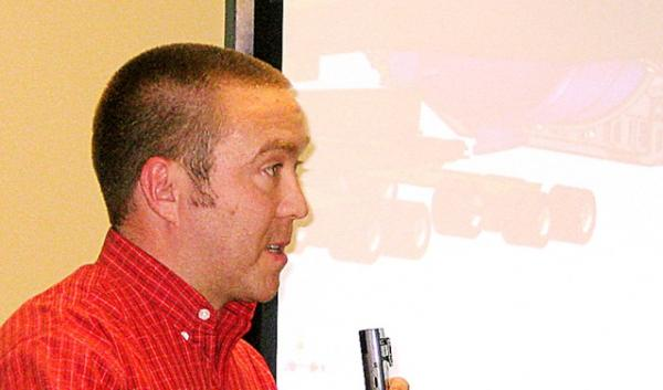 Erik Zander of Omega Morgan discusses the megaload plans at a public meeting Monday night in John Day.
