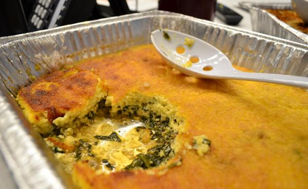 The Sweet Potato Greens Spoonbread was prepared by Rock Harper of DC Central Kitchen.