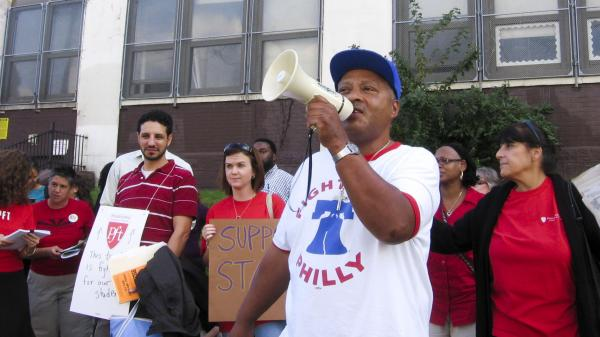 The Philadelphia Federation of Teachers protests outside Feltonville Intermediate School in Philadelphia last month. The protesters demanded the reinstatement of counselors and teachers aides, and blamed Gov. Tom Corbett for budget cuts.