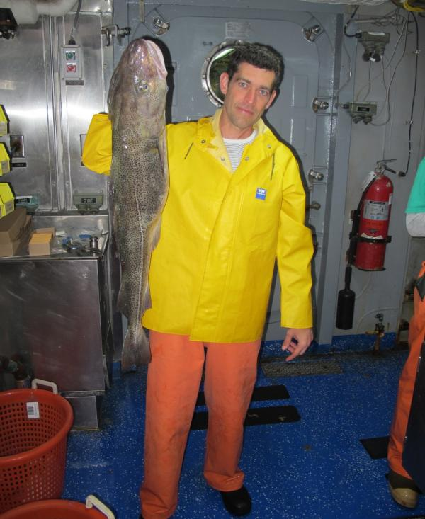 Rowan Jacobsen with a codfish (Rowan Jacobsen)