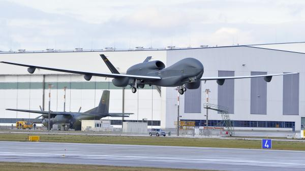 A handout picture shows Europe's biggest drone, Eurohawk, made by Northrop Grumman, at the start of its first test flight in Manching, Germany, on Jan. 11. If European officials have their way, the European Union will have its own drones within the next decade.