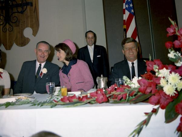 Lady Bird Johnson (left), Vice President Lyndon B. Johnson, First Lady Jacqueline Kennedy and President John F. Kennedy sit during the Fort Worth Chamber of Commerce Breakfast at the Hotel Texas.