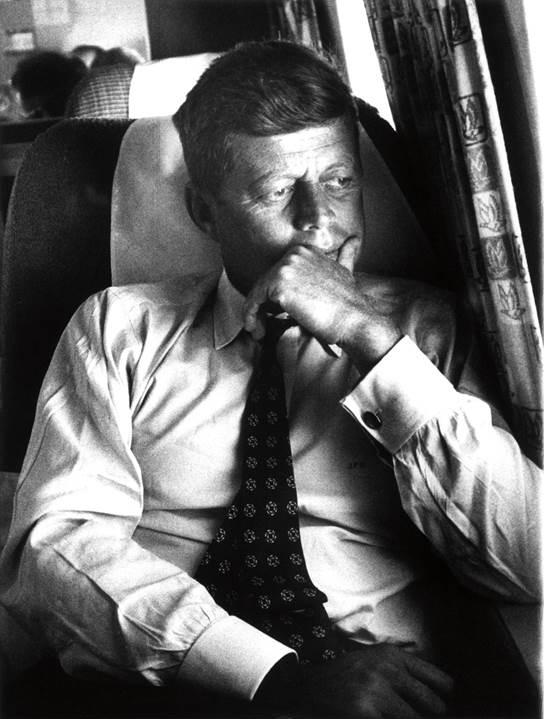 Then Senator John F. Kennedy on The Caroline, the Kennedy Family Plane, during the 1960 Presidential campaign.