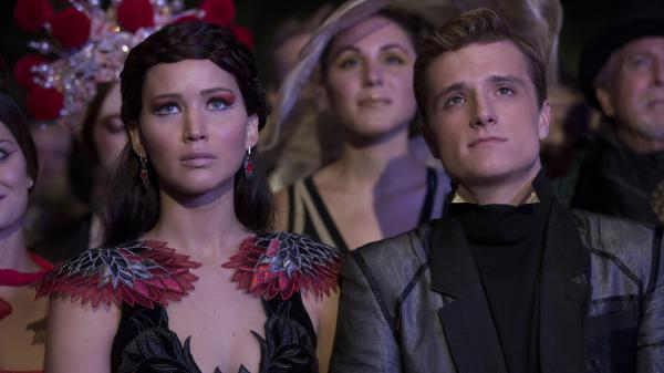 Jennifer Lawrence and Josh Hutcherson in <em>Catching Fire</em>.