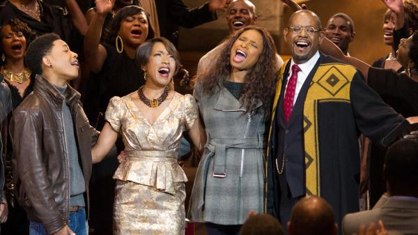 Jacob Latimore (from left), Angela Bassett, Jennifer Hudson and Forest Whitaker power through the season in Kasi Lemmons' <em>Black Nativity,</em> a Christmas movie musical based on Langston Hughes' gospel oratorio.