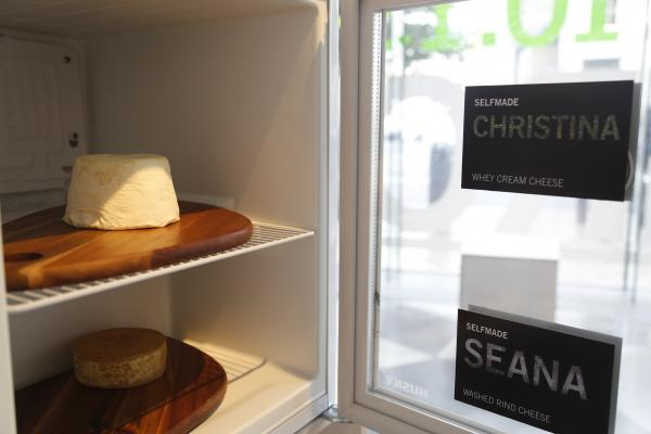 "The ""selfie"" cheeses are on display at the Science Gallery at Trinity College in Dublin."