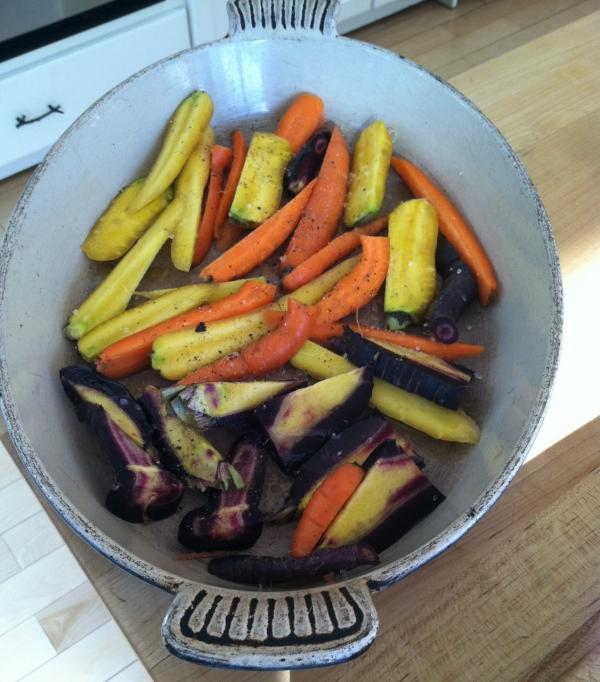 Fresh dug carrots, ready to roast. (Kathy Gunst/Here & Now)