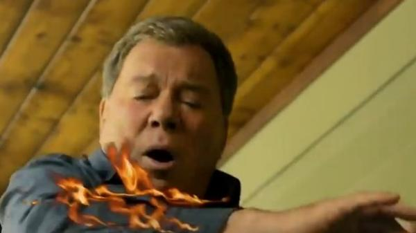 Don't try this at home: Actor William Shatner in State Farm's <em>Eat, Fry, Love: A Cautionary Remix</em> video about how to safely fry a turkey.