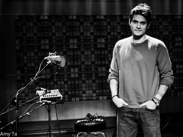 John Mayer sets up shop for his performance in Studio 1 at NPR Headquarters.